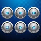 Glossy multimedia control web icon set Royalty Free Stock Images
