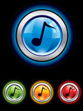 Glossy music button Stock Photos