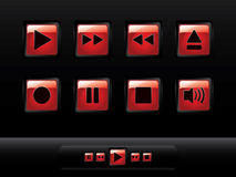 Glossy music buttons Stock Images