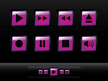 Glossy music buttons vector illustration