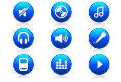 Glossy Music Icons and Symbols. A set of 9 music and audio icons and buttons Stock Images