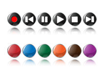 Glossy music player buttons Royalty Free Stock Photography
