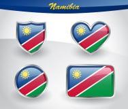Glossy Namibia flag icon set Stock Images