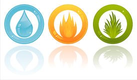 Glossy nature elements buttons Royalty Free Stock Photos