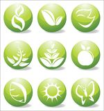 Glossy nature icons. Glossy nature elements vector illustration Royalty Free Stock Image