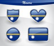 Glossy Nauru flag icon set Stock Photos