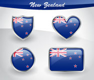 Glossy New Zealand flag icon set Royalty Free Stock Image