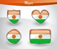 Glossy Niger flag icon set Stock Photo
