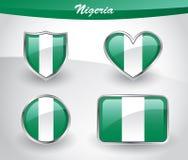 Glossy Nigeria flag icon set Stock Photos