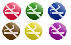 Glossy No Smoking Button Royalty Free Stock Photography