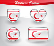 Glossy Northern Cyprus flag icon set Stock Images