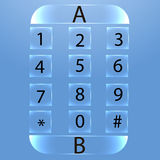 Glossy numbers  icons set, phone numbers emerald buttons Stock Image