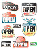 Glossy open store signs Stock Images
