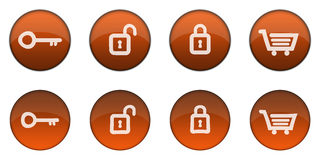 Glossy Orange 3D Web Button Set 1 Stock Photography