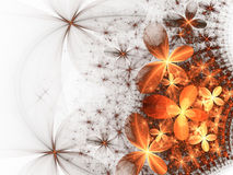 Glossy orange and gold fractal flowers Stock Photo