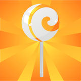 Glossy orange lollipop background Stock Photos
