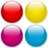 Glossy orb buttons. Glossy orbs with white border and shading. Rounded buttons made in various colours (red, cyan, magenta, yellow Royalty Free Stock Photos
