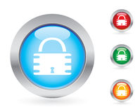 Glossy padlock button set Stock Photos