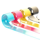 Glossy paint rollers with strokes vector illustration