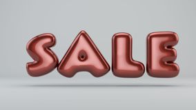 Glossy paint sale. 3D render of bubble font with glint. On white background Stock Photo