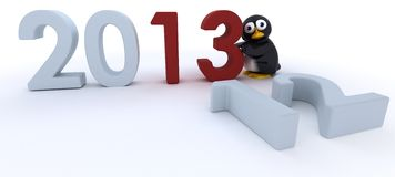 Glossy Penguin Character bringing in the new year Stock Photography
