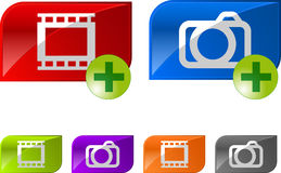 Glossy photo video buttons stock illustration