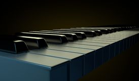 Glossy piano keyboard on the black background. Stock Photos