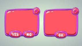 Glossy pink cartoon panels for game or web UI. Including yes/no and OK buttons royalty free illustration