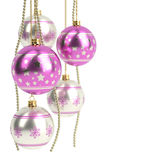 Glossy pink christmas bulbs  on white background. 3D render Stock Image