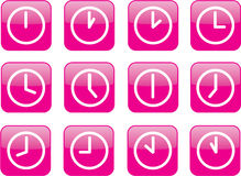 Glossy pink clocks. A clock for every hour Stock Photos