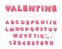 Glossy pink decorative font. Cartoon ABC letters and numbers. Perfect for Valentine s day cards, cute design for girls. Vector Royalty Free Stock Photos