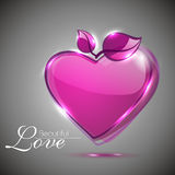 Glossy pink heart shape Stock Image
