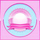 Glossy pink lace frame with banner Royalty Free Stock Photography
