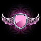 Glossy pink shield emblem Royalty Free Stock Image