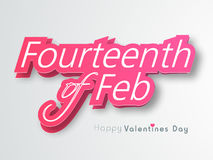 Glossy pink text for Valentines Day celebration. Stylish glossy pink text Fourteenth of Feb indicated Happy Valentines Day celebration on shiny grey background Royalty Free Stock Photography