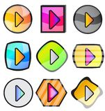 Glossy Play Button Icon Set Stock Images