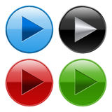 Glossy Play Buttons. Play buttons with glossy, but not overdone, shadows, reflections, and highlights royalty free illustration