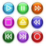 Glossy player buttons. On white. Vector illustrations Stock Photography