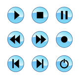 Glossy player icons. Vector set of blue multimedia icons isolated on white background Stock Photos