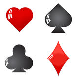 Glossy playing card symbols vector isolated on white background Royalty Free Stock Photography