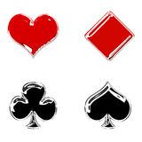 Glossy poker symbols Royalty Free Stock Images
