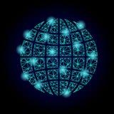 Polygonal 2D Mesh Globe V3 with Light Spots vector illustration