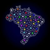 Raster Wire Frame Mesh Map of Brazil with Light Spots for New Year royalty free illustration