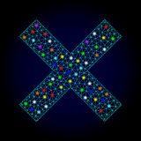 Vector 2D Mesh Reject Cross with Glowing Spots for New Year royalty free illustration