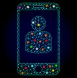 Vector Network Mesh Smartphone User with Glare Spots for New Year royalty free illustration