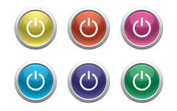 Glossy power button. Glossy buttons with power symbol on white Royalty Free Stock Image