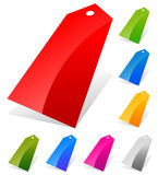 Glossy price tags, labels in more colors with empty space trans Stock Photos