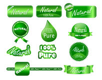 Glossy Pure Natural Stickers. A collection of 100% pure and natural stickers that can be used on agricultural products packaging royalty free illustration