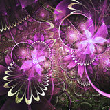 Glossy purple fractal flowers Royalty Free Stock Photography