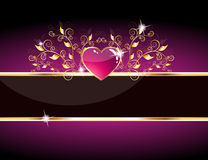 Free Glossy Purple Heart Card Royalty Free Stock Photography - 17642677